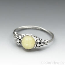 Yellow Opal Bali Sterling Silver Wire Wrapped Bead Ring