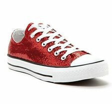 New Converse Women's All Star CT Ox Low Top Sneakers Shoes Red Glitter 136085F