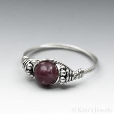 Lepidolite Gem Sterling Silver Wire Wrapped Bali Bead Ring