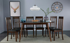 Suffolk Oval Dark Wood Dining Room Table & 4 6 Oxford Chair Set (Brown Seat Pad)