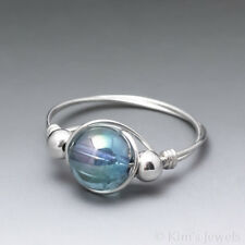 Aqua Aura Crystal Quartz Sterling Silver Wire Wrapped Bead Ring