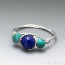 Lapis Lazuli & Turquoise Sterling Silver Wire Wrapped Bead Ring - Ships Fast!