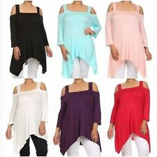 Plus Top Cold Open Shoulder Size Solid 1X 2X 3X Asymmetrical Tunic Women Sexy