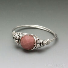 Rhodonite Faceted Bali Sterling Silver Wire Wrapped Bead Ring