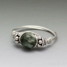 Seraphinite Clinochlore Bali Sterling Silver Wire Wrapped Bead Ring