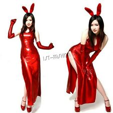 Sexy Womens Patent Leather Long Dress Bunny Rabbit Costume Cosplay Clubwear