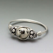 Dalmatian Jasper Bali Sterling Silver Wire Wrapped Bead Ring