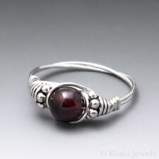 Pyrope Garnet Bali Sterling Silver Wire Wrapped Bead Ring