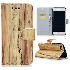 Wood Grain Flip PU Leather Wallet Card Pouch Case Cover For iPhone 6 6s 7 Plus