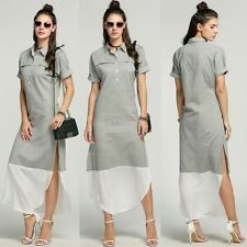Fashion Women New Lapel Batwing Sleeve Side Slit Maxi Long Striped Shirt Dress