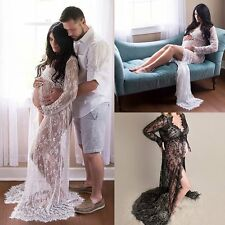 Sexy Maternity Lace Gown Wedding Party Maxi Dresses Plus Size Photography Dress