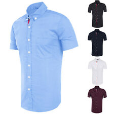 TRENDY Mens Slim Fit Button Work Dress Casual Shirts Short Sleeve Business Tops