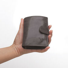 100% Brand Italy Men's Top Cowhide Leather Trifold Cion Zipper Card Wallet Purse