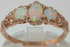 Ladies Solid 14ct Rose Gold Natural Fiery Opal English Victorian Style Ring