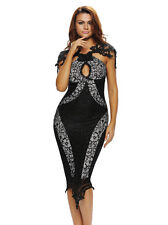 Women Chic Sleeveless Lace Patchwork Backless Slim Package Hip Womerns Dress