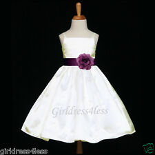 IVORY/PLUM PURPLE SPAGHETTI STRAPS WEDDING FLOWER GIRL DRESS 12M 2 3/4 6 8 10 12