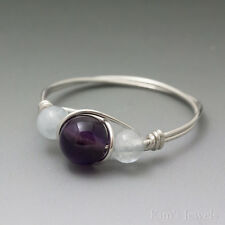 Amethyst & Aquamarine Sterling Silver Wire Wrapped Bead Ring – Ships Fast!