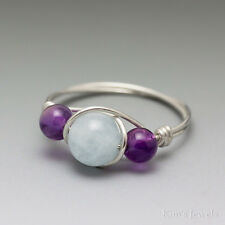 Aquamarine & Amethyst Sterling Silver Wire Wrapped Bead Ring – Ships Fast!