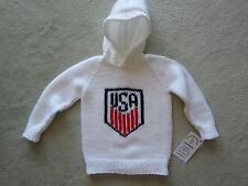 NEW! Hand Knit US Soccer Baby Sweater back zipper 6 or 12 month White Hoodie