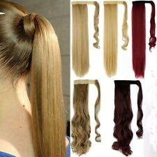 UK Natural Wavy Straight Clip In Wrap On Ponytail Pony Tail Hair Extension kcwgb