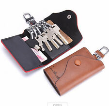 Genuine Leather Car Key Case Home Key Card Cash Change Holder Wallet Black Brown
