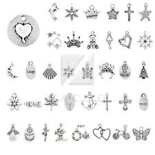 20-250pcs Tibetan Silver Metal Spacer Charm Pendant Jewelry Findings 40 Style