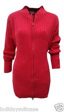 Plus size 14-24 UK. Ladies womans chunky winter knit zip cardigan beige or red