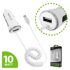 Cellet High Powered 10 Watt (2.1 Amp) Micro USB Car Charger with USB Port White
