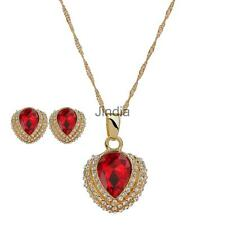 Crystal Gem Heart Pendant Necklace Earrings Stud Diamante Jewelry Set Party Gift