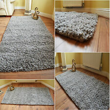 LUXURY THICK SILVER GREY PINE PLAN SHAGGY RUGS NON-SHED SOFT ANTI-SLIP FLOOR MAT