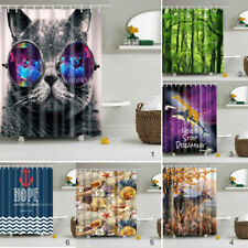 Polyester Shower Curtain Bathroom Waterproof Graphic Panel Sheer with 12 Hooks