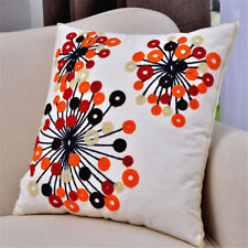 2PC Cushion Cover Set 18x18'' Flower Embroidered Throw Pillow Case Cushion Shell