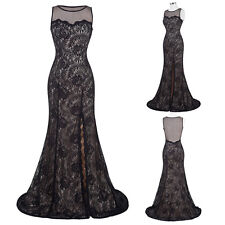 Black Long Vintage Formal Bridesmaid Lace Wedding Gown Evening Prom Party Dress