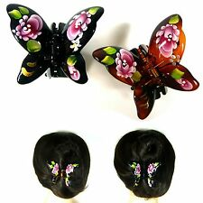 Plastic Butterfly Hair Claw Clamp Jaw Clip Pin Accessory Hand Painted Flower New