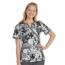 Women's Med Couture Chrissy Notch Y-Neck Floral Print Scrub Top
