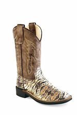 Old West Children Broad Square Toe Chocolate/Brown Crackle Cowgirl Boot
