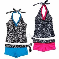 NEW GIRLS SIZE 7-14 TWO PIECE SWIM BATHING SUIT BIKINI KIDS SWIMWEAR TANKINI SET