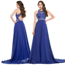 2017 Blue Chiffon Evening Formal Party Ball Gown Prom Bridesmaid Dress Size 2-16