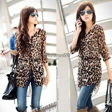 Women's Half Sleeve Leopard Chiffon Tunic Long Cardigan Blouse Tops with C5