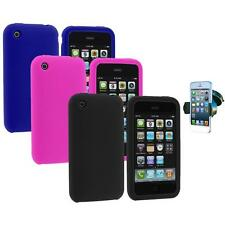 Color Silicone Rubber Gel Case Cover+Windshield Mount for Apple iPhone 3G 3GS