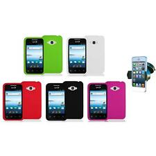 Silicone Color Soft Gel Case Cover+Windshield Mount for LG Optimus Elite LS696