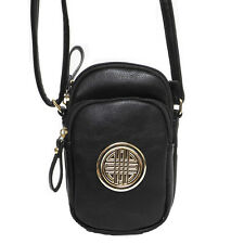 Designer Inspired black golden medallion cellphone pockets bag cross-body case