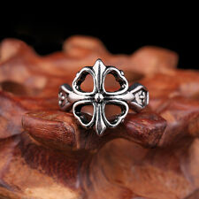Biker Punk Vintage Men Silver Four Leaf Clover Lucky Stainless Steel Ring Band