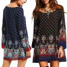 Retro Women Boho Retro Long Sleeve Short Dress Loose Casual Beach Dress