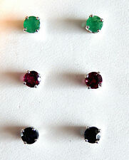 Natural untreated Emerald, Ruby or Sapphire Earrings/ 4 mm. Rds./Sterling Silver