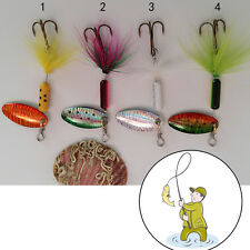 3.7g Metal Spoon Lures with Feather  Lure Spinner Jig Fake Bait for Fishing 6C1