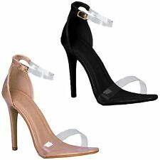 Womens Patent Faux Suede Clear Barely There Perspex Ankle Strap Stiletto Heels