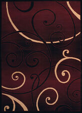 Red Contemporary Circles Area Rug Rings Swirls Curls Hoops Polypropylene Carpet