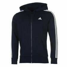 adidas Essentials 3 Stripe Logo Full Zip Hoody Mens Navy Hoodie Sportswear Top
