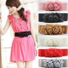 Womens Pop Elastic Strench Wide Floral Solid Color Waistbands Belts Sexy Decor